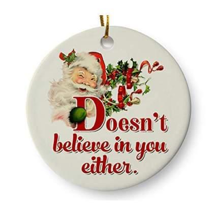 Mean Santa ornament
