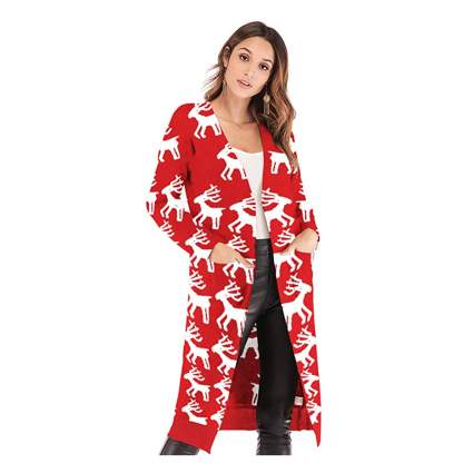 red and white reindeer christmas cardigan