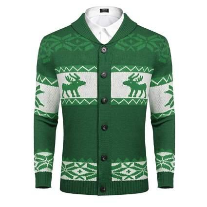 men's green reindeer christmas cardigan