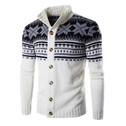 men's black and white christmas cardigan