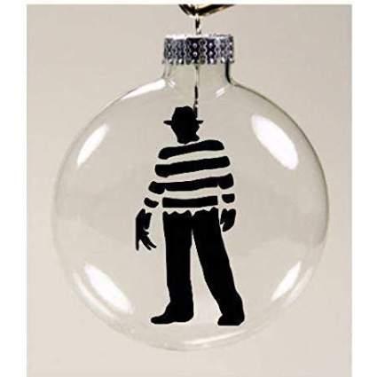 Glass christmas ornament with Freddy Krueger