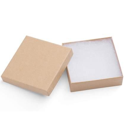 Brown square cardboard jewelry box