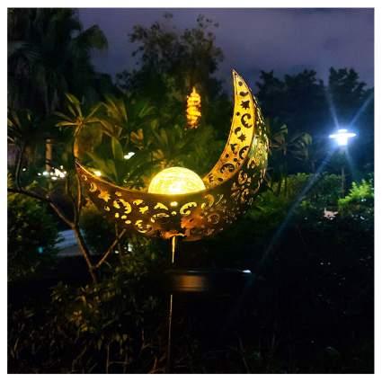 moon shaped solar garden lights