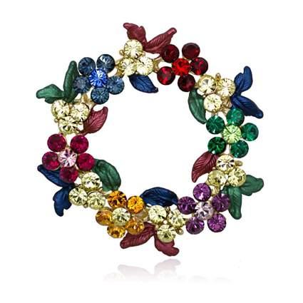 multicolor crystal wreath brooch
