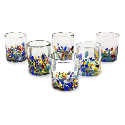 multicolored recycled glass tumblers