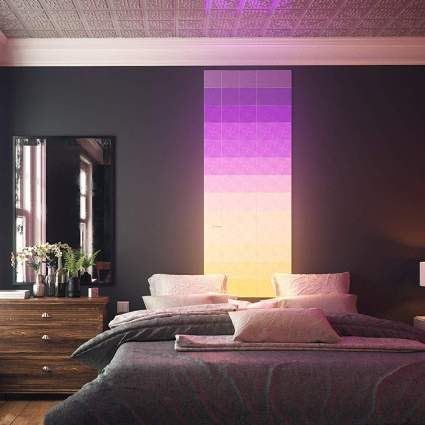Puple and yellow modular lighting headboard