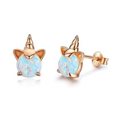 Opal and 18k Rose Gold Unicorn Earrings