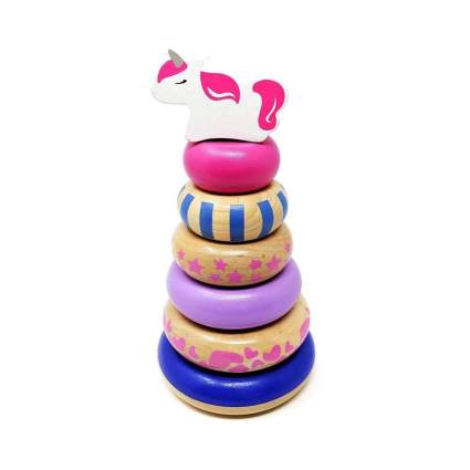 _Orcamor Wooden Stacking Rings Toy With Unicorn Topper