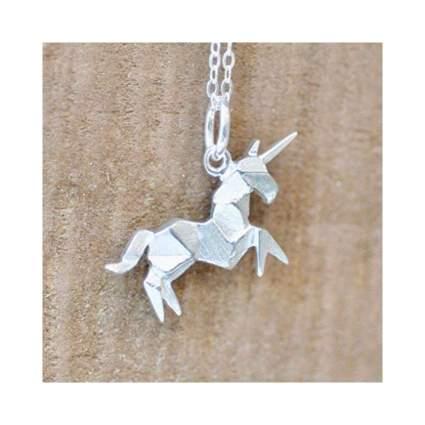 Origami Unicorn Charm Necklace