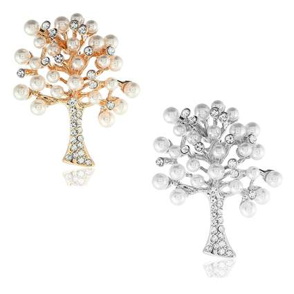 pearl studded tree brooches