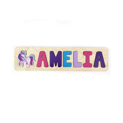 Personalized Wooden Name Puzzle With Unicorn