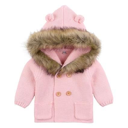 pink hooded infant cardigan