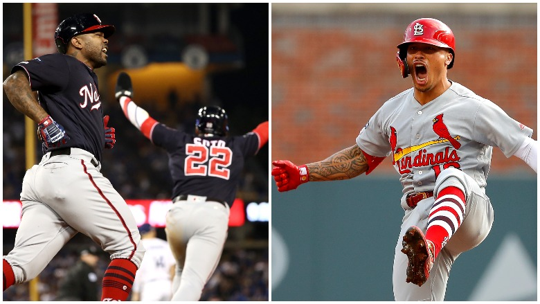 The Nationals stunned the Dodgers in extra innings and the Cardinals routed the Braves to advance to the NLCS.