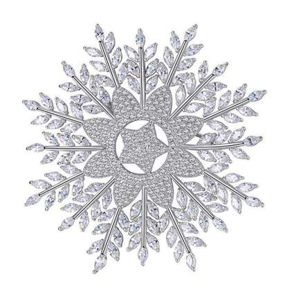 platinum plated cubic zirconia snowflake brooch