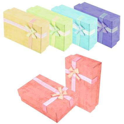 Pastel multi-colored boxes with bows