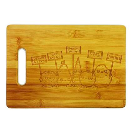 protesting vegetables engraved bamboo cutting board