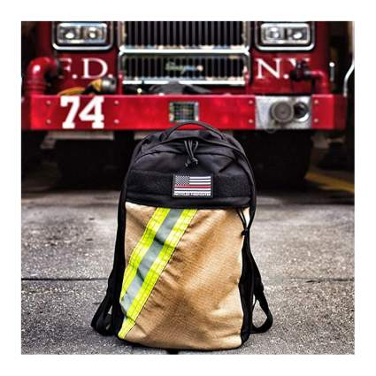 recycled firefighter fabric packpack