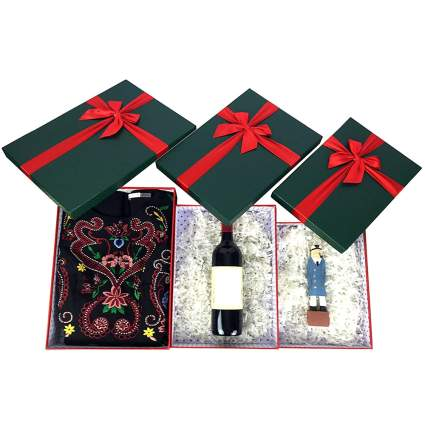 red and green rigid christmas gift boxes