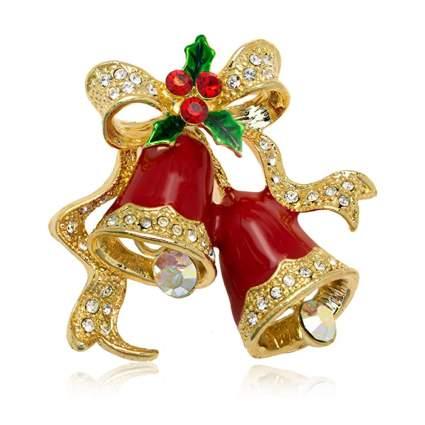 red christmas bells brooch
