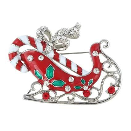 red enameled santa sleigh brooch
