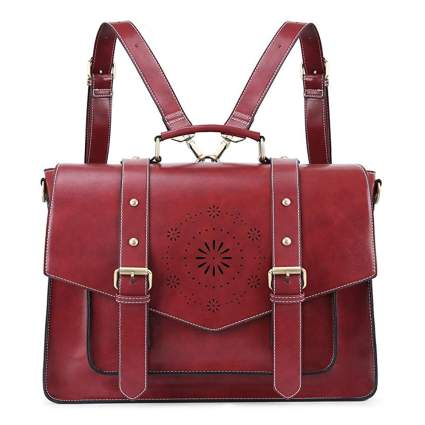 red vegan leather messenger bag