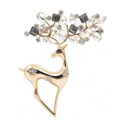 goldtone rhinestone reindeer brooch