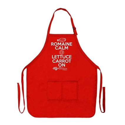 romaine calm funny red apron