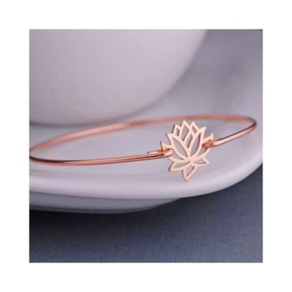 Rose Gold Lotus Bangle Bracelet