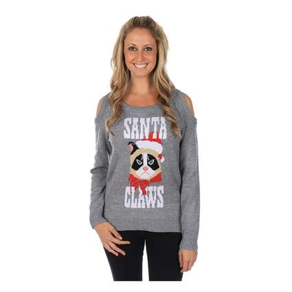 gray cold shoulder cat christmas sweater
