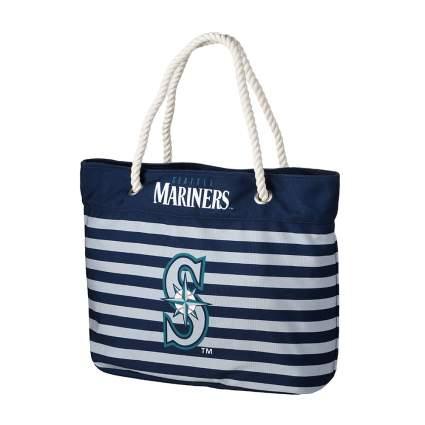 seattle mariners nautical striped tote bag