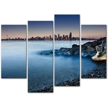 seattle skyline canvas print set