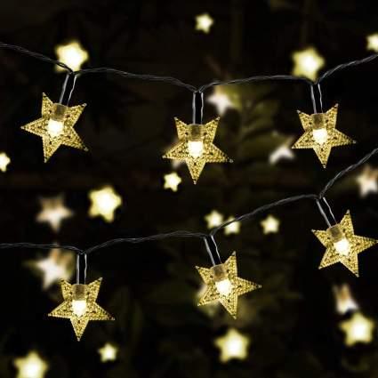 gold star string lights