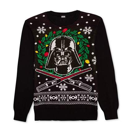 Star Wars Darth Vader Wreath and Light Sabers Christmas Sweater