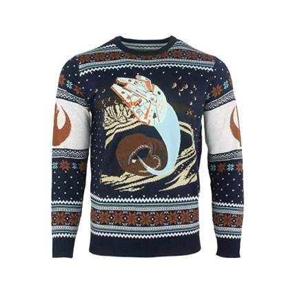 Star Wars Ugly Millennium Falcon Space Slug Escape Christmas Sweater