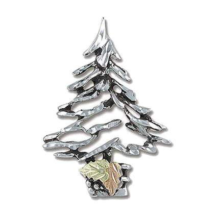sterling silver and black hills gold christmas tree brooch
