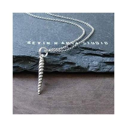 Sterling Silver Small Unicorn Horn Charm Necklace