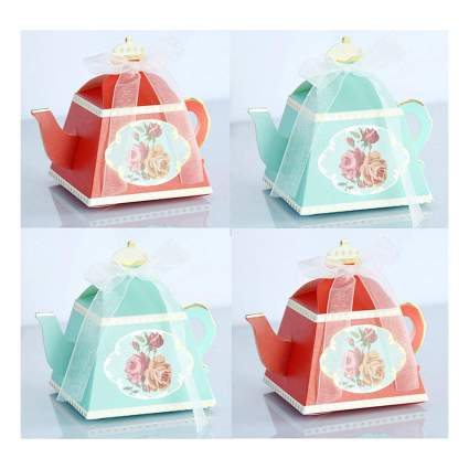 Red and green cardboard teapots