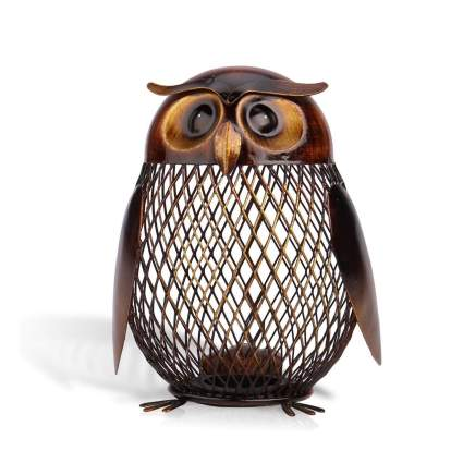 Tooarts Owl Shaped Metal Coin Bank