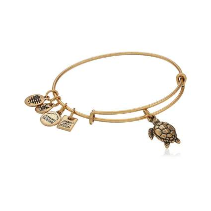 antiqued gold tone turtle charm bracelet