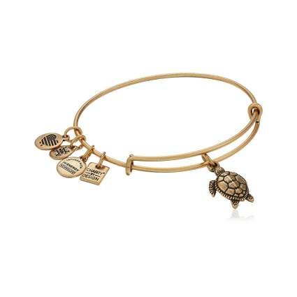 antiqued gold tone turtle charm bracelet