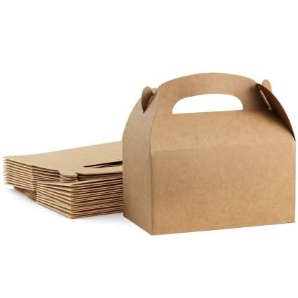 brown paper folding lunch box with handle