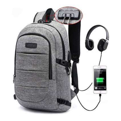 Waterproof Laptop Backpack w/USB Charging Port and Lock