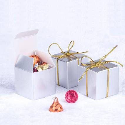 Silver cube gift boxes