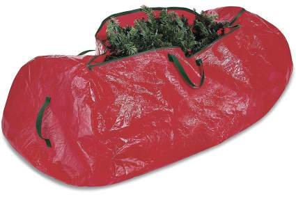 Red plasticy bag with Christmas tree