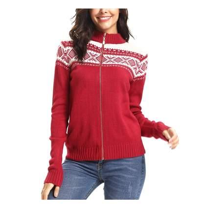 red zip front snowflake cardigan