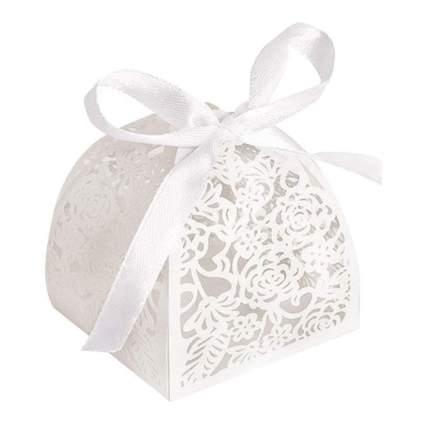 White lacy wedding favor box