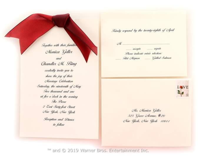 Monica and Chandler's wedding invitation