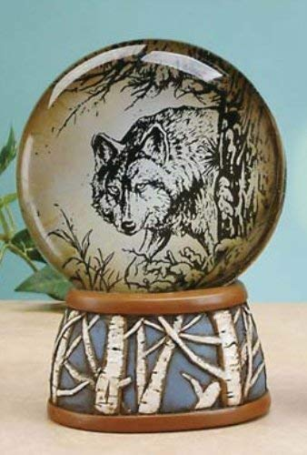North Amber Light Up Water Globe with Alpha Wolf Design