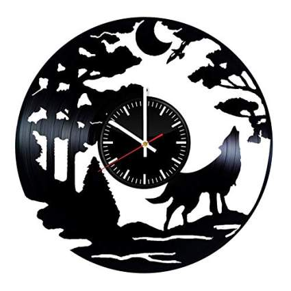 Vinyl Record Wall Clock Wolf Design