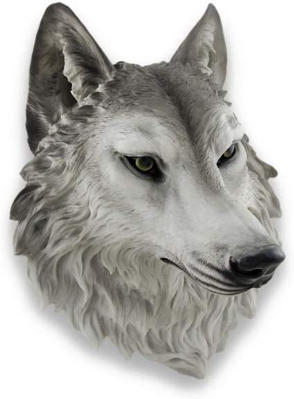 Gray Wolf Head Mount Wall Statue Bust